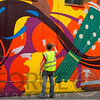 Mural Painter at Work, Temple Bar, Dublin, Ireland