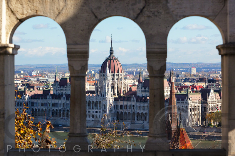 Hungarian Parliament Viewed Through of Arches