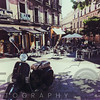 Nostalgic Outdoor Cafe Scene in Central Madrid, Spain