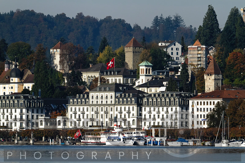 View of Lucerne Lake Front with the Old Town Towers in the Background, Lucerne, Switzerland