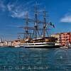 View of Venice Harbor with the Tall Ship Amerigo Vespucci, Veneto, Italy