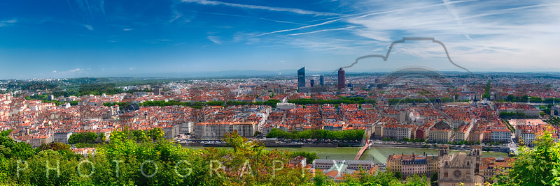 Panoramic View of Lyon from the Fourvière Hill, France