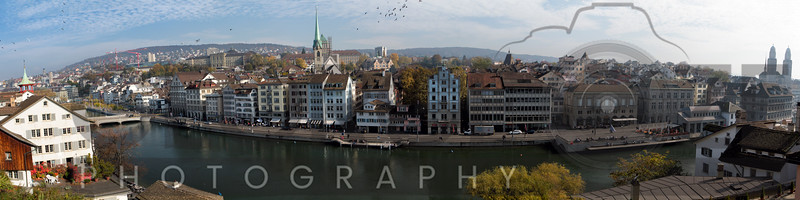 Paoramic View of Zurich from the Lindenhof Hill, Switzerland