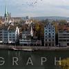 Paoramic View of Zurich from the Lindenhof Hill, Switzerland