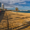 View of Barceloneta Beach, Barcelona, Catalonia, Spain