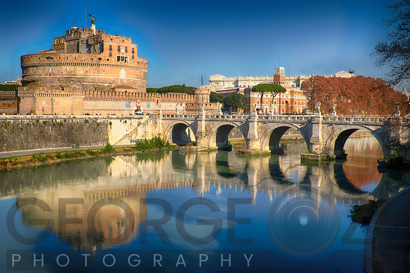 Castle and Bridge Reflections in the Tiber River, Rome, Italy