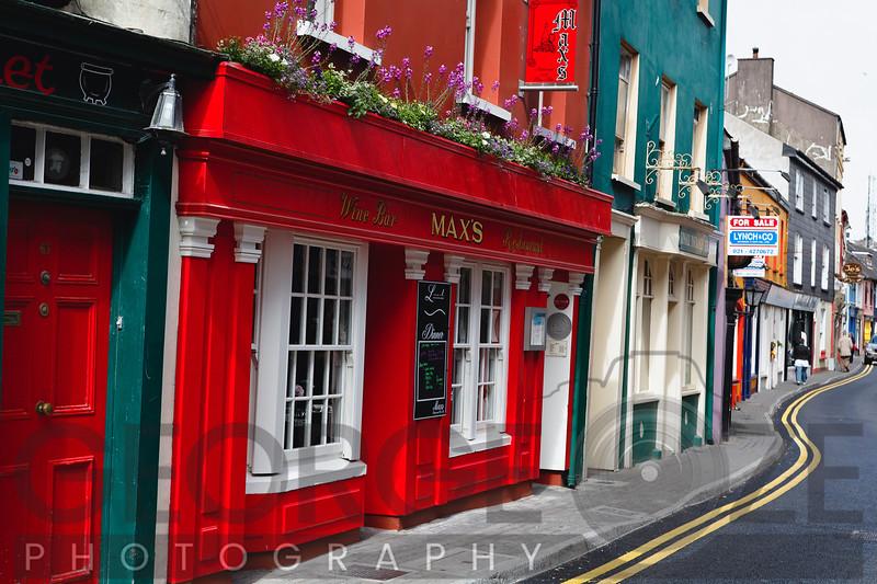 Colorful Narrow Street in Kinsale, County Cork, Republic of Ireland
