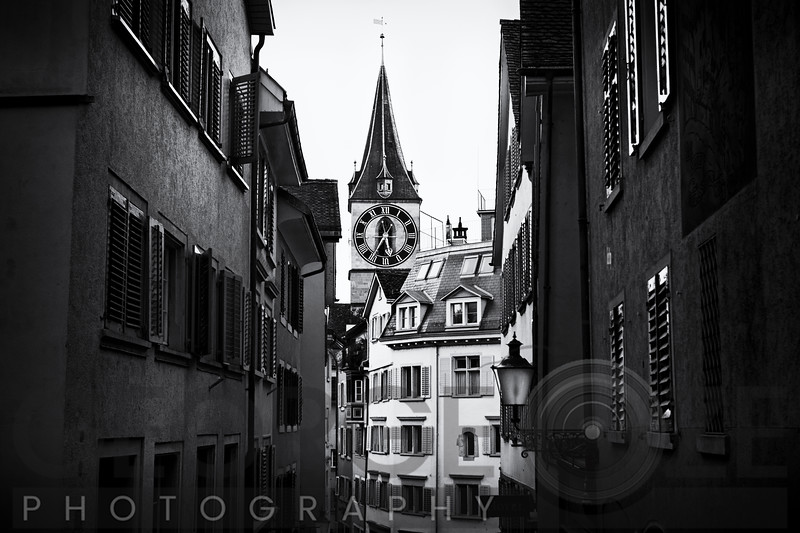Old Town Zurich with the Clocktower of St Peter Church, Canton Zurich, Switzerland