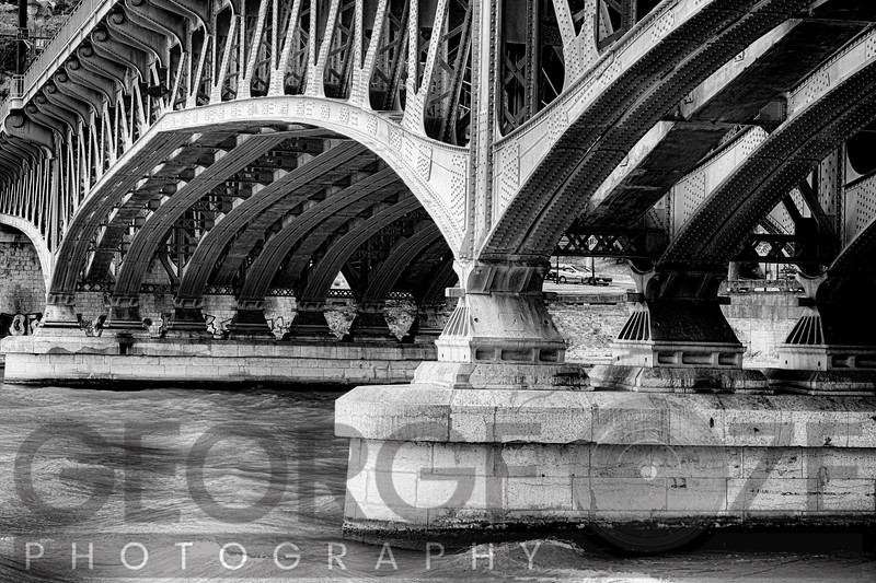 Old Bridge Structure Over The Saone River, Lyon, Framce