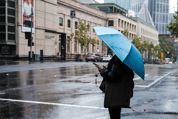 Girl with blue umbrella - X100v