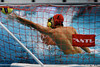 Australian goalie James Stanton saves a shot from Canada's Nathanial Miller during the men's Gold Medal Final on day 8.
