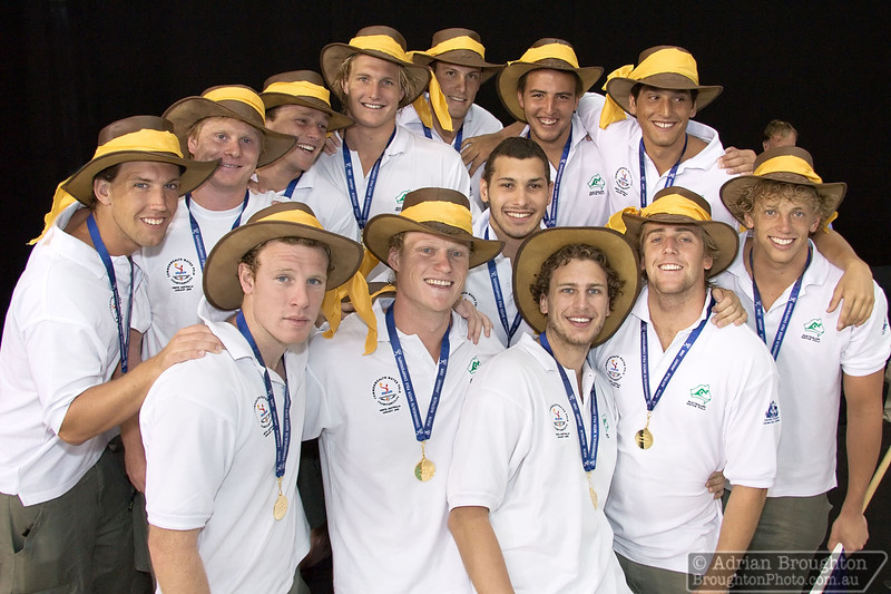 The Australian men's team, happy to receive their Gold medals for winning the championship.