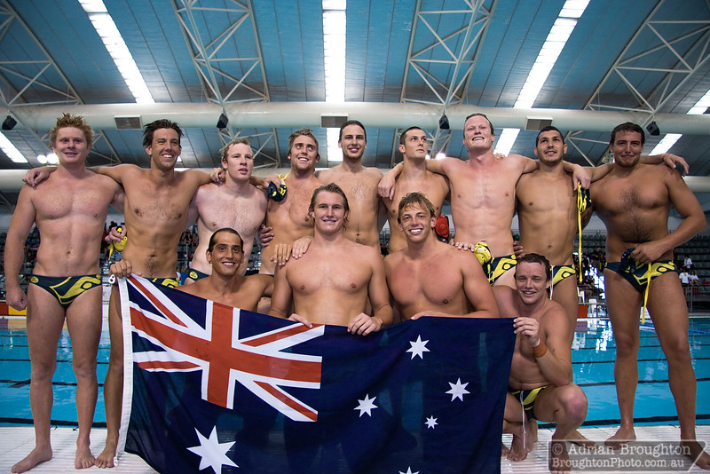 The Australian men's team immediately after winning the Gold Medal final against Canada on day 8.