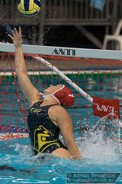 Australian goalie Alicia McCormack deflects a Canadian shot during the Gold Medal final on day 8.