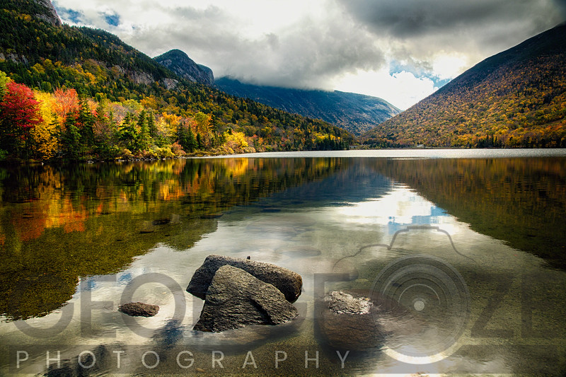Pristine Mountain Lake During Fall Season, Echo Lake, Franconia, New Hampshire