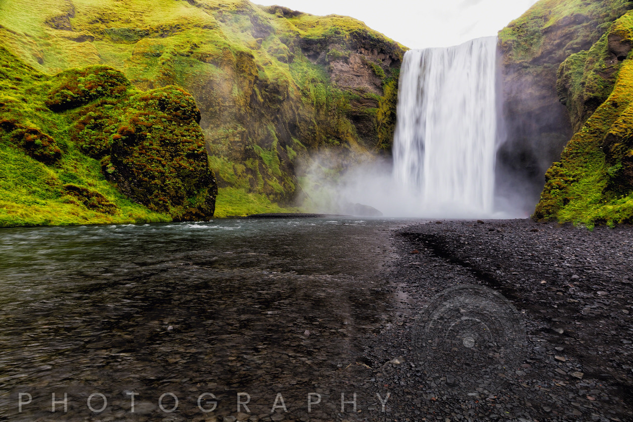 Low Angle View of the Skogafoss Waterfall,  Iceland