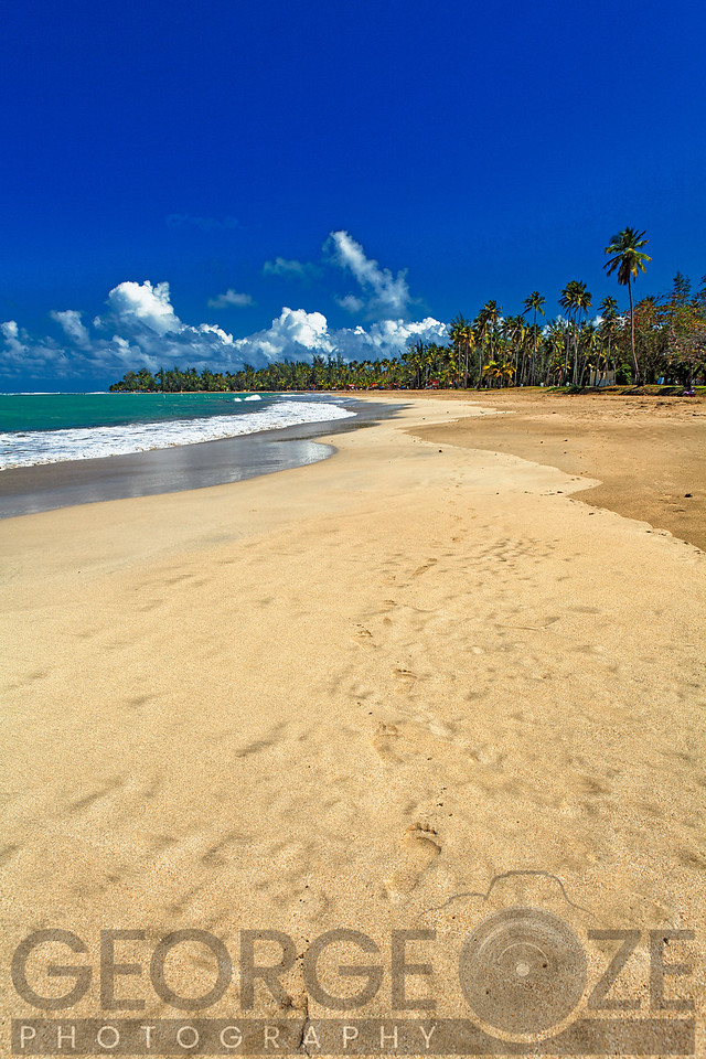 Vertical View of a Caribbean Beach,Luquillo Beach, Puerto Rico