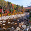 Suspension Bridge Over the Pemigwasset River During Fall Season, New Hampshire