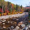 Suspension Bridge Over the Pemigwasset River During Fall Season, New Hampshire