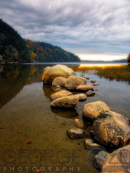Granite Rocks in a Lake at Sunset, Echo Lake, Acadia National Park, Maine