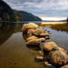 Granite Rocks in a Lake at Sunset, Echo Lake, Acadia National Park, Maine
