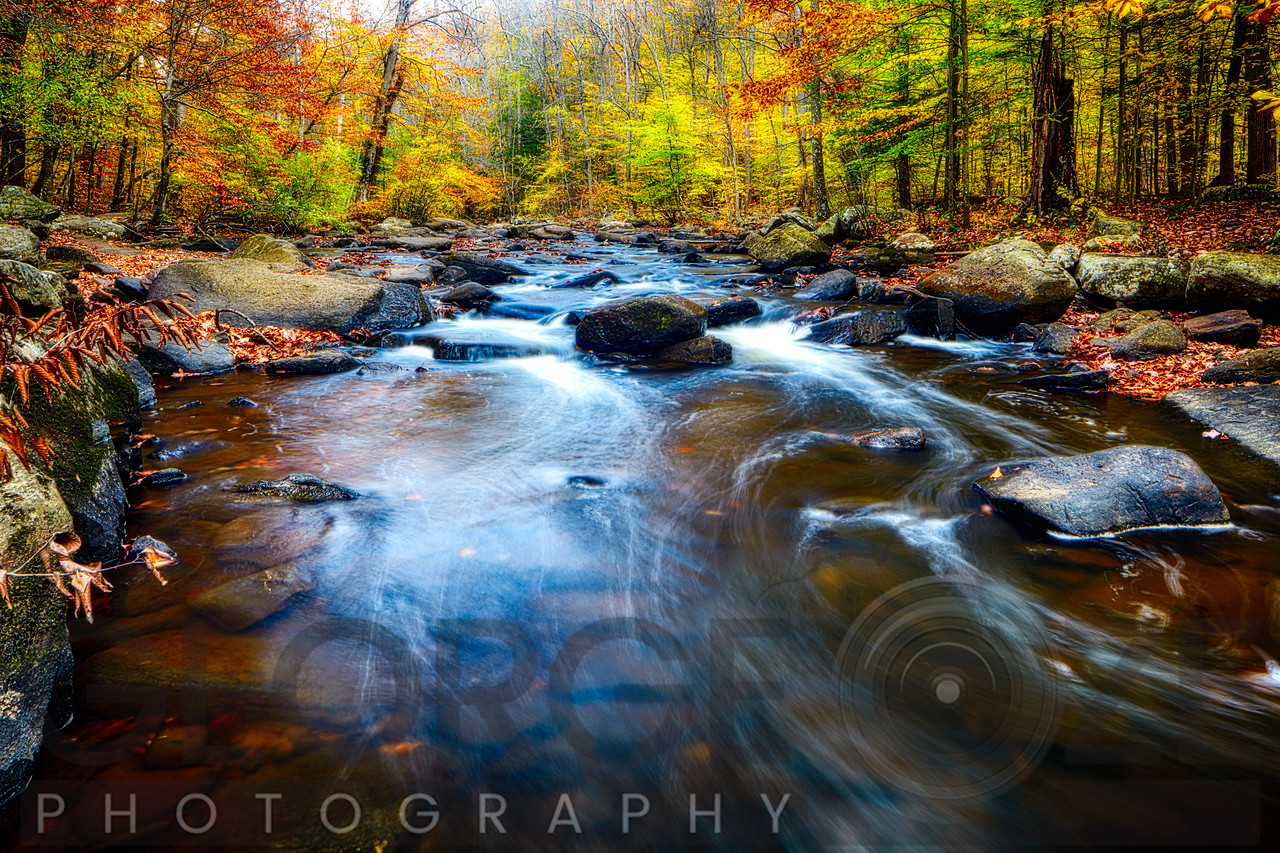Fall Scenic of a Rocky River, New Jersey