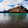 Last Rays of SunReflecting from a Montaina at Lake Shore, Bow Lake, Alberta, Canada