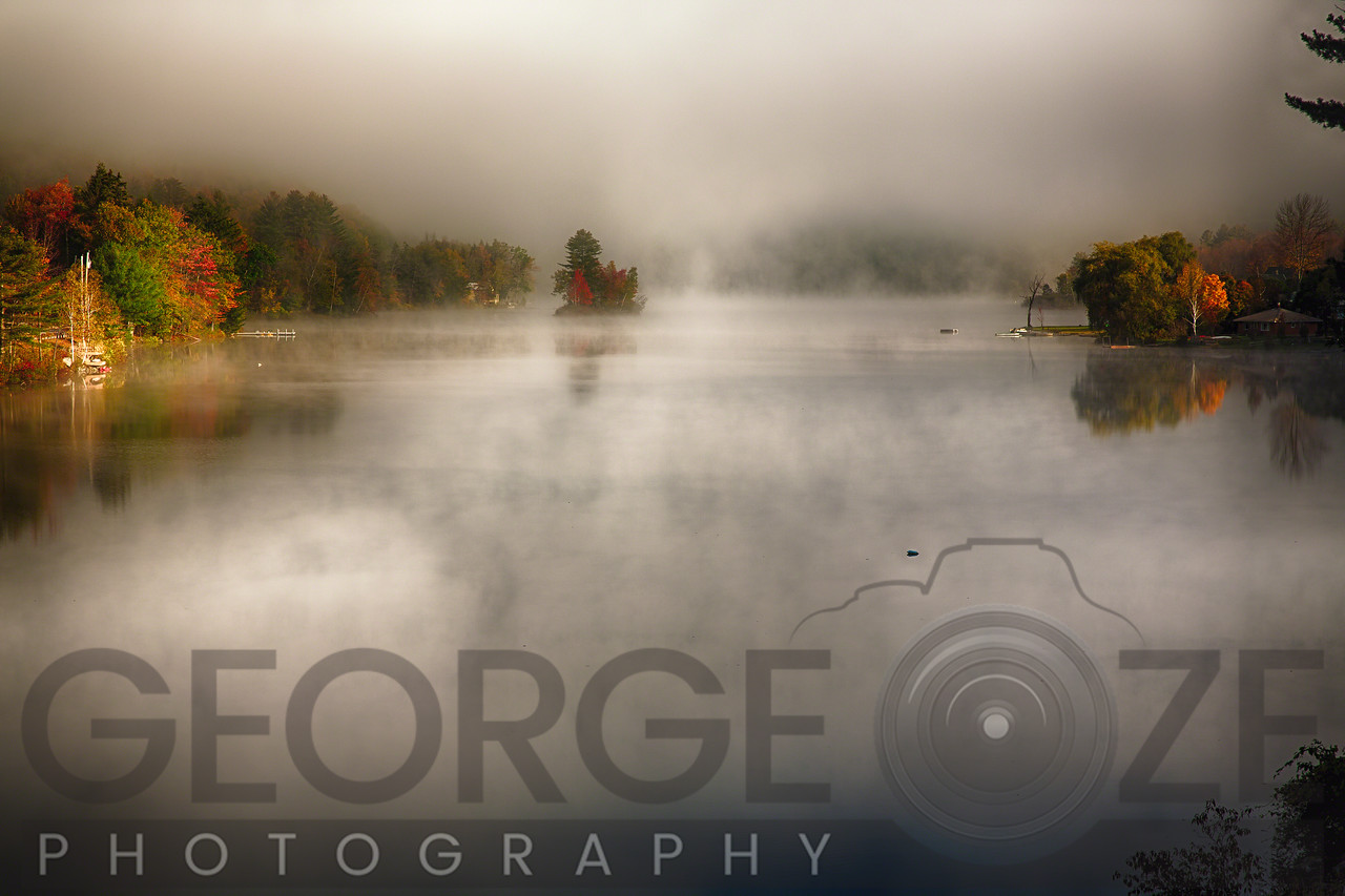 Morning Fog on a Vermont Lake in Autumn