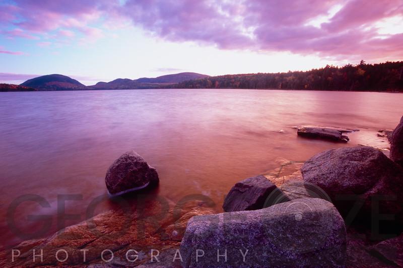 Sunset Afterglow, Eagle Lake, Mt Desert Island, Acadia National Park, Maine