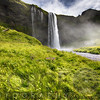 Low Angle View of the Seljalandsfoss Waterfall, Iceland