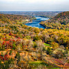 High Angle View of the Delaware River During Peak Fall Foliage with the New Hope-Lambertville Bridges, Bucks County, Pennsylvania