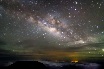 Center of the Milky Way and Kona Hawaii From Haleakala Crater