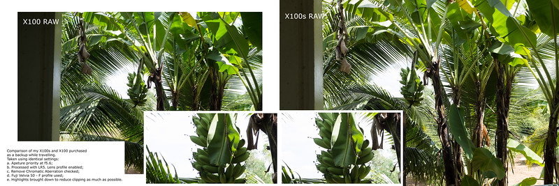 X100s RAW Banana comparison