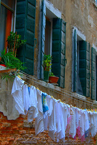 Laundry Above a Canal, Venice, Italy