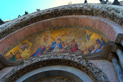 Lunette (portal) at St. Mark's Cathedral Basilica, Frese depicting Christ bearing the cross, Venice, Italy