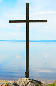 Cross on the shore at Rättvik Church along Lake Siljan, Rättvik, Dalarna, Sweden.