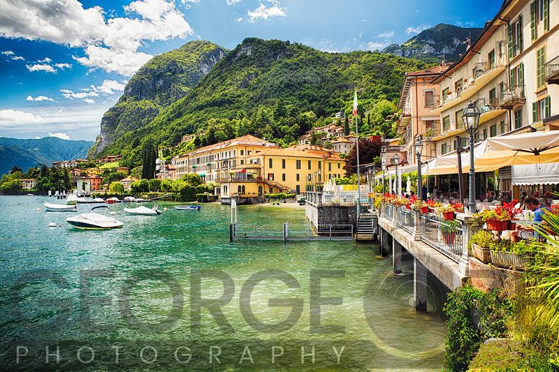 Terrace Overlooking Lake Como, Menaggio, Lombardy. Italy