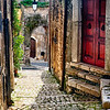 Narrow Cobblestone Street of Sermoneta, Italy