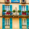 Windows, Balconies on a Small Hotel, Albergo Vapore, Menaggio, Lake Como, Lombardy, Italy