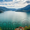 High Angle View of Lake Como Towards Bellagio and Lenno from Castle Vezio, Varenna, Lombardy, Italy