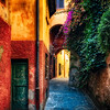Narrow Street with Bougainvillea Flowers, Portofino, Liguria, Italy
