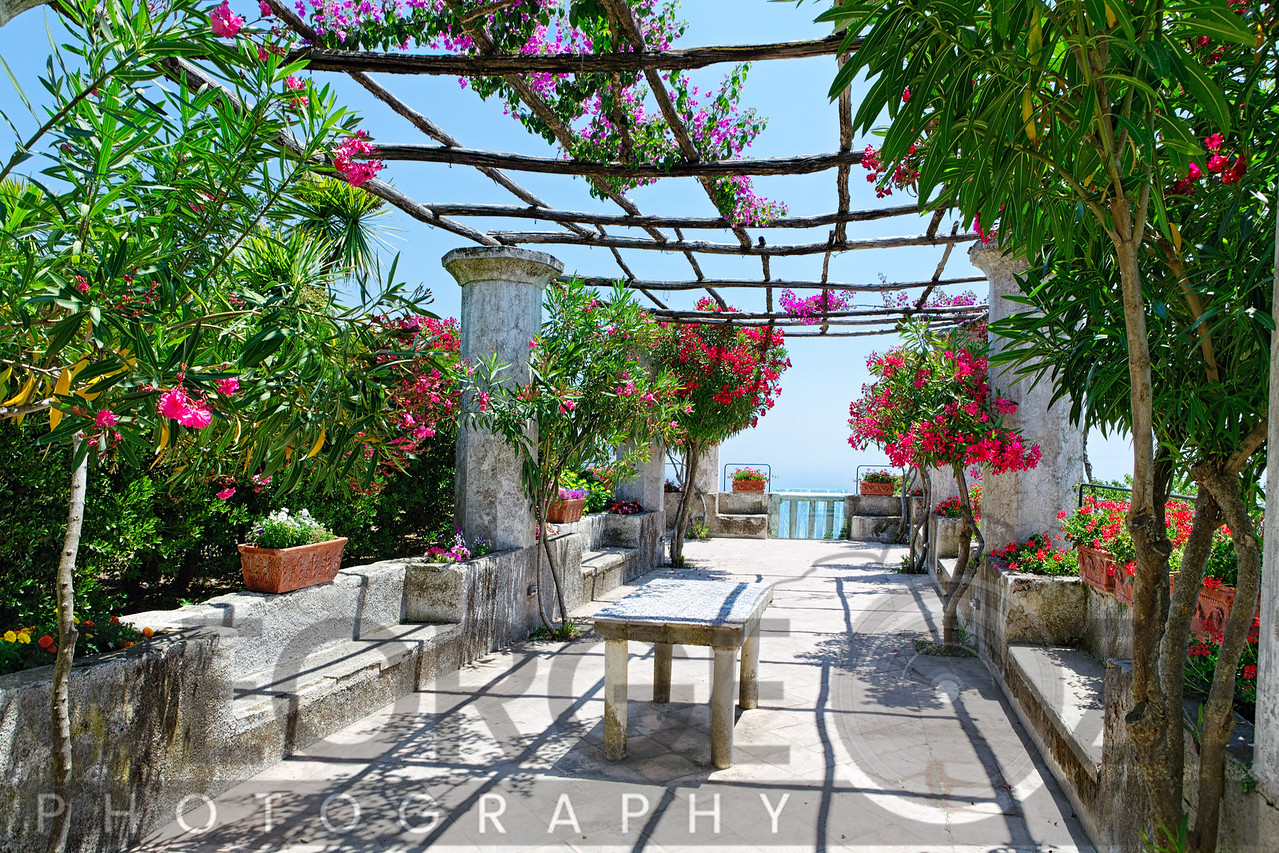 Summer Garden with a Trellis and Blloming Trees and Flowers, Villa Rufulo, Campania, Italy