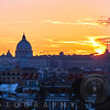 Sunset View of Rome from The Villa Borghese, Rome, Lazio, Italy
