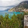 Distance Marker on a Road, Amalfi Coast at Positano, Campania, Italy