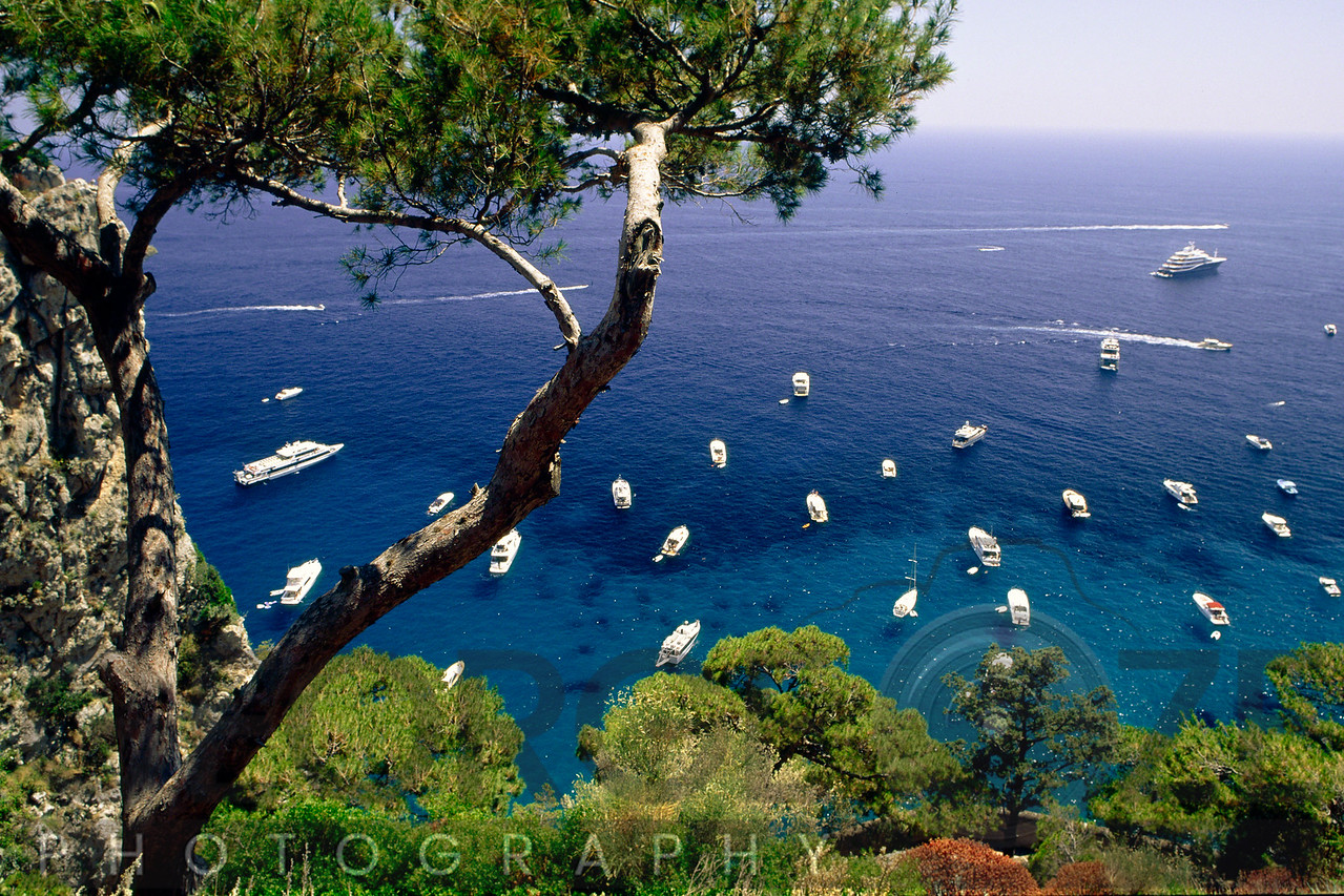 High Angle View of Boats on the Sea From a Hill, Capri, Campania, Italy