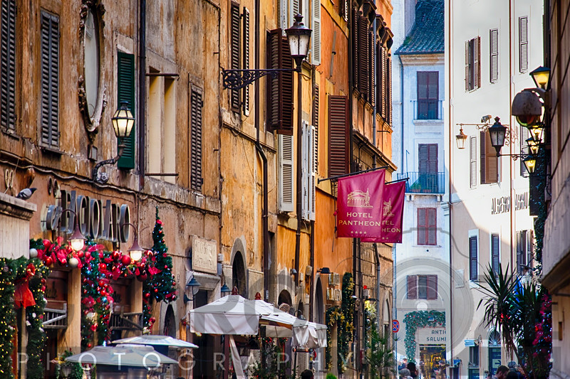 Street in Central Rome During Christmas Holiday