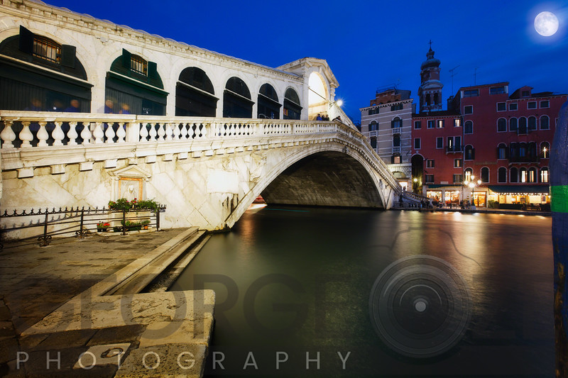 Rialto Bridge At Night, Venice, Italy
