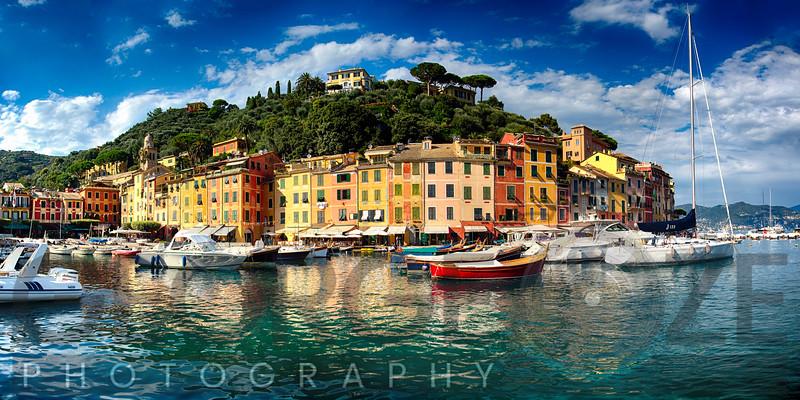 Low Angle Panoramic View of Portofino Harbor, Liguria, Italy