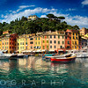 Low Angle Panoramic View of Portofino Harbor, Liguria, Italy