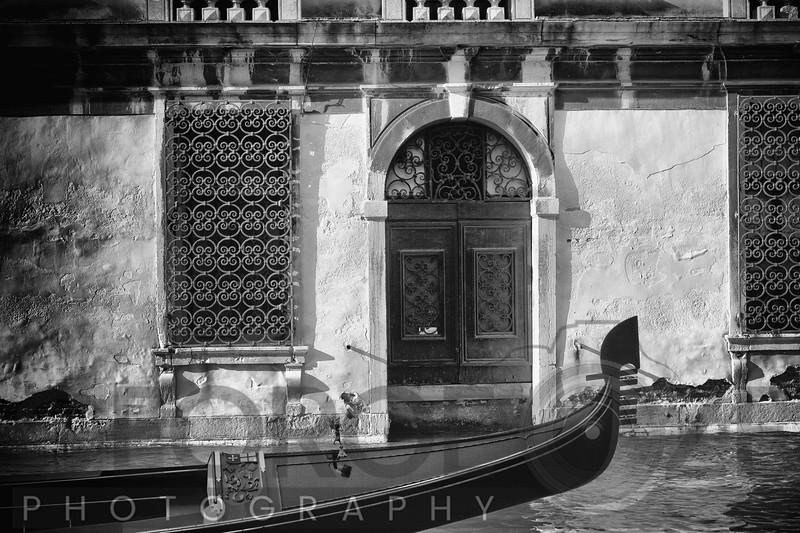 View of a Gondola Bow in Front of a Typical Venetian House Entrance, Canali di Venezia, Venice, Veneto, Italy
